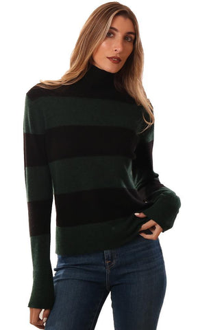 525 AMERICA SWEATERS LONG SLEEVE MOCK NECK GREEN NAVY STRIPED CASHMERE KNIT