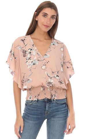 VERONICA M TOPS SHORT SLEEVE V NECK SMOCKED WAIST FLORAL PEACH FLOWY BLOUSE