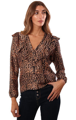 VERONICA M TOPS LONG SLEEVE RUFFLE V NECK ANIMAL PRINTED BLOUSE