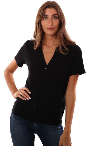 MICHAEL STARS TOPS POLO STYLE COLLARED V NECK BLACK T-SHIRT