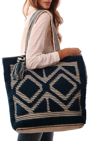HANDBAGS TASSEL POM POM CANVAS CARPET NAVY LARGE SUMMER TOTE