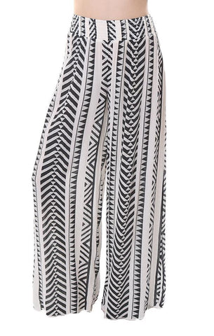 Pants Tribal Printed Black Ivory High Waisted Pant