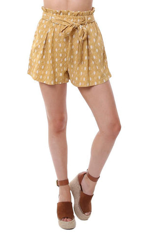 HAYDEN SHORTS HIGH WAISTED TRIBAL PRINTED TIE WAIST YELLOW SHORTS