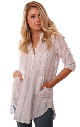 CP SHADES TOPS V NECK LIGHTWEIGHT ROLLED SLEEVE STRIPED LINEN COVERUP TUNIC