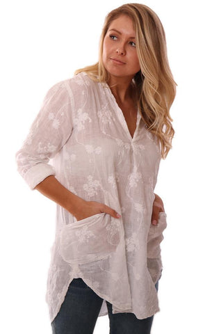 CP SHADES TOPS V NECK ROLLED SLEEVE FLORAL EMBROIDERED WHITE COVERUP TUNIC