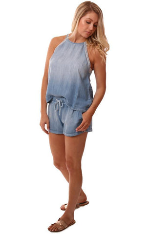 Bella Dahl Matching Set Top Shorts Denim Side Striped Halter Easy To Wear Set