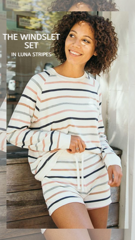 WINDSLET TOP THREAD AND SUPPLY SHORT SETS STRIPED