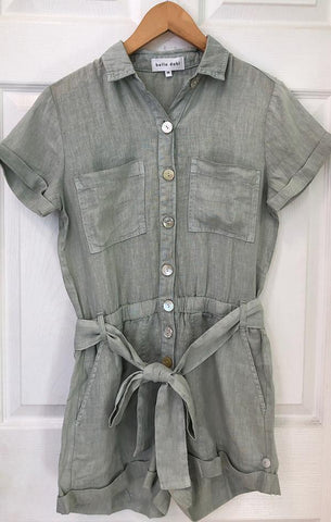short sleeve button front belted utility romper by Bella Dahl
