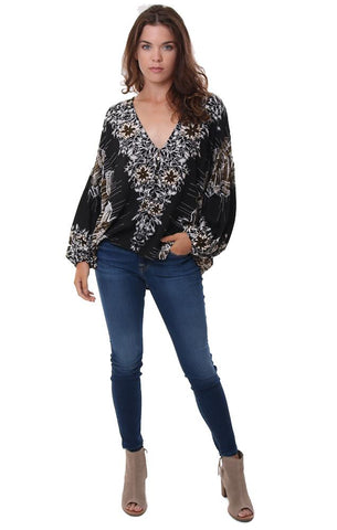FREE PEOPLE TOPS BLACK PRINTED LONG SLEEVE BUTTON UP V NECK FLOWY BLOUSE