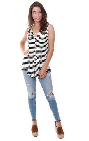 BIBI TOPS V NECK STRIPED BUTTON DOWN BLACK AND WHITE TANK TOP