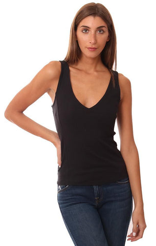 FREE PEOPLE TANKS V NECKLINE STRAPPY BACK BLACK LAYERING TANK TOP