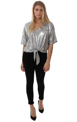 VERONICA M TOPS TIE FRONT V NECK SHIMMER SILVER CHIC DRESSY HOLIDAY BLOUSE