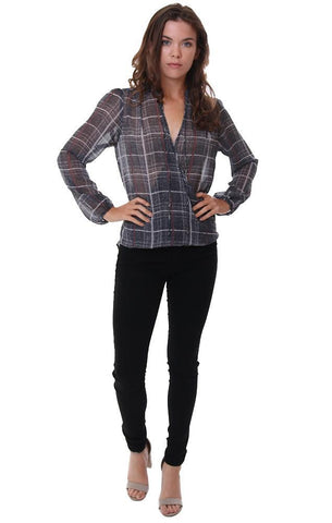 VERONICA M TOPS PLAID SHEER LONG SLEEVE V NECK GREY BLOUSE