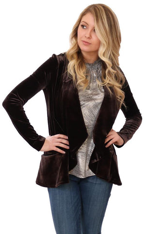 LYSSÉ JACKETS OPEN FRONT LONG SLEEVE CHIC BLACK VELVET CARDI BLAZER JACKET