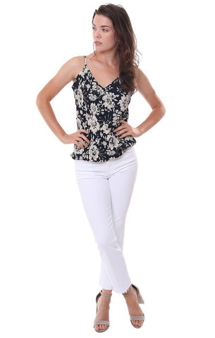 Veronica M Tops V neck Crossover Floral Printed Tank Blouse