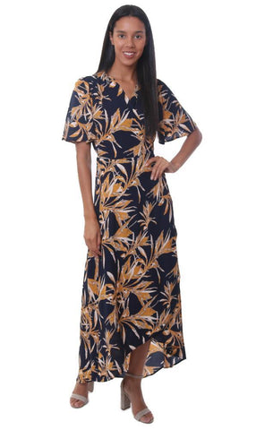 veronica m dresses wrap tie waist v neck yellow navy floral printed short sleeve maxi