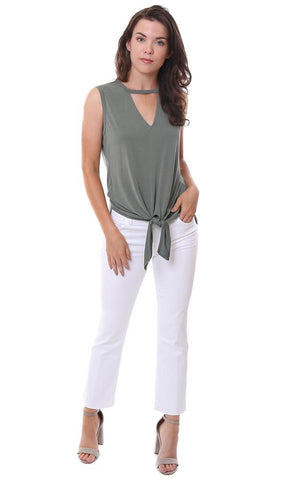 veronica m tops v neck cutout tie front green sleeveless top
