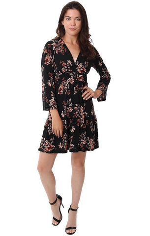 Veronica M Dresses V Neck Tiered 3/4 Sleeve Floral Printed Black Mini Dress
