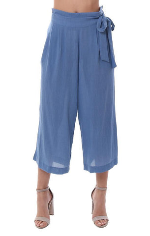 veronica m pants wide leg belted blue flowy cropped summer pant