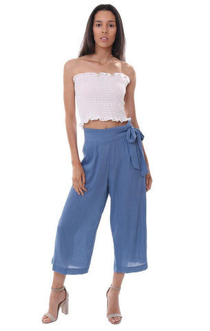 veronica m blue wide leg pants belted flared cropped summer pant