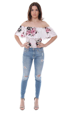 Veronica M Leotard Floral Print off the shoulder ruffle top one piece