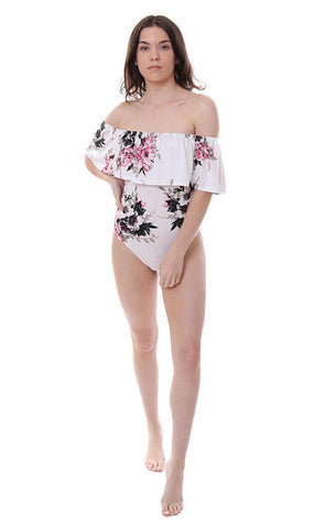 Veronica M one piece floral printed leotard ruffle top off the shoulder