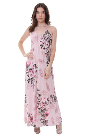 veronica m dresses scoop neck halter floral print pink maxi summer dress