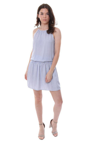 Veronica M smocked waist striped blue summer mini dress