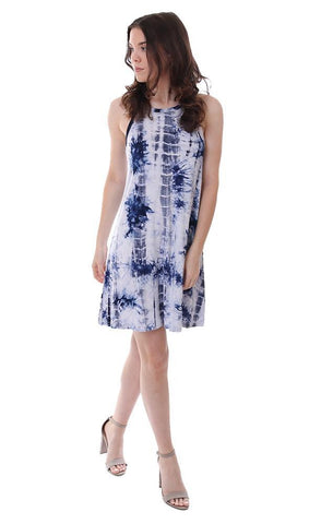 veronica m dresses lightweight blue tie dye tank racerback mini dress