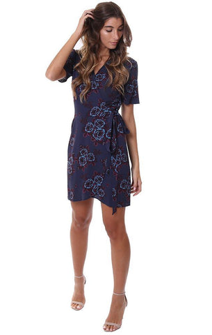a2a5b76a5f8 Veronica M Dresses V Neck Wrap Floral Navy Mini Dress