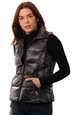 ANORAK VESTS PUFFER DOWN GREY CAMO PRINT ZIP UP VEST