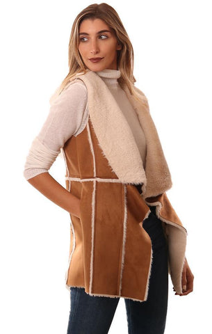 CUPCAKES AND CASHMERE VESTS OPEN FRONT SOFT FAUX SUEDE AND SHERPA LINED TAN VEST