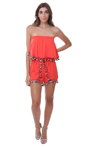 Vintage Havana rompers Tassel trim pom pom Details Red Orange Strapless Jumper Beach Wear