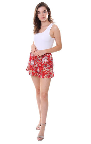 Printed Red Shorts Lightweight Ruffle Trim Summer Flowy Short