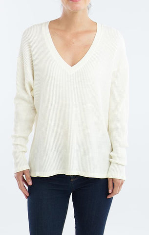 DROP SHOULDER V NECK RED HAUTE WINTER SWEATERS