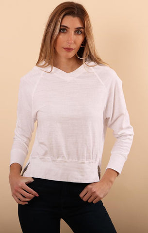 CORRINE TOP CP SHADES V NECK WHITE SUMMER TOP