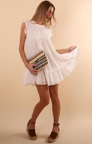 TIERED MINI DRESS COTTON CANDY SUMMER WHITE PARTY DRESS