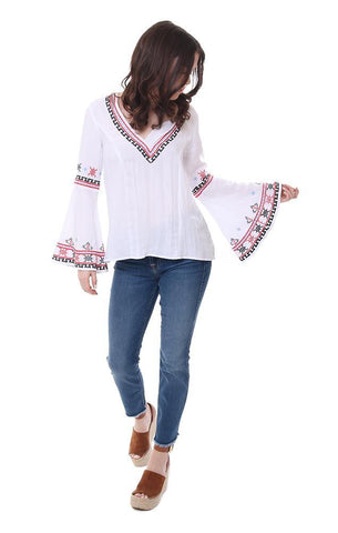 central park west embroidered v neck bell sleeve blouse