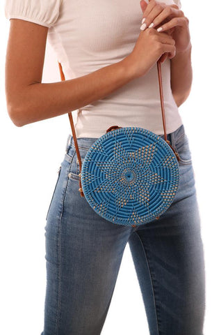 HANDBAGS ROUND WOVEN RATTAN LEATHER STRAP BLUE CROSSBODY BAG