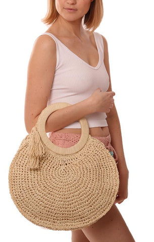 HANDBAGS ROUND WOVEN STRAW GRASS ROUND HANDLE IVORY TOTE