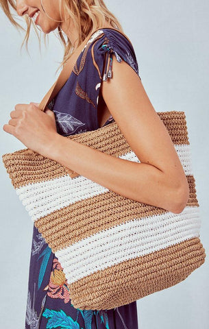 HANDBAGS WOVEN STRAW STRIPED LARGE SHOULDER TOTE BAG