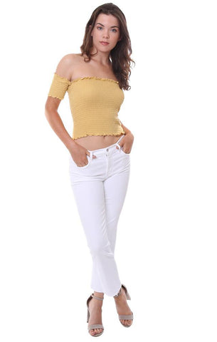 FIORE TOPS OFF THE SHOULDER CAP SLEEVE SMOCKED YELLOW TUBE TOP