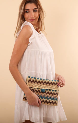 ZIG ZAG WOVEN CLUTCH NAVY NATURAL SUMMER CLUTCH BAGS