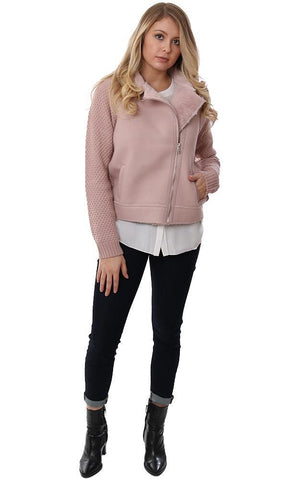 METRIC JACKETS FAUX SHERPA LINED COLLARED PINK COZY ZIP UP SWEATER COAT
