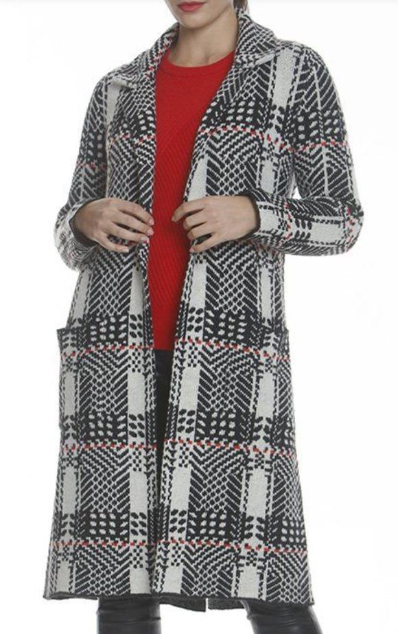 plaid long jacket with collar