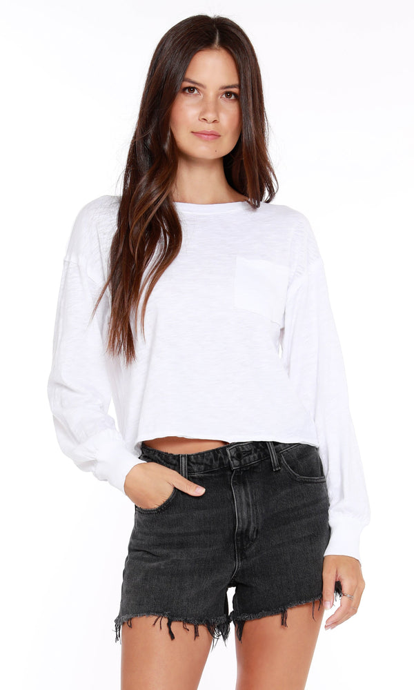 long sleeve crop white lightweight top