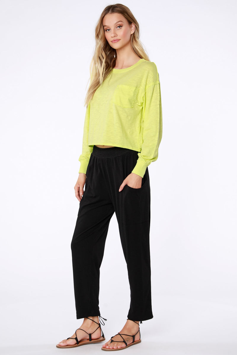 smocked waist lightweight black soft pant