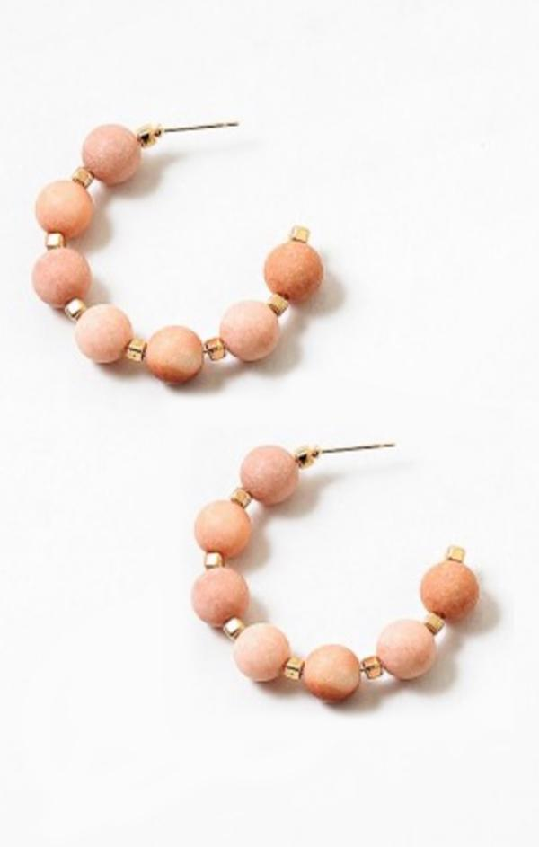summer spring womens jewelry beaded hoop earrings peach