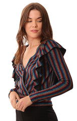 Saylor Tops Long Sleeve Ruffle V Neck Metallic Rainbow Shirt