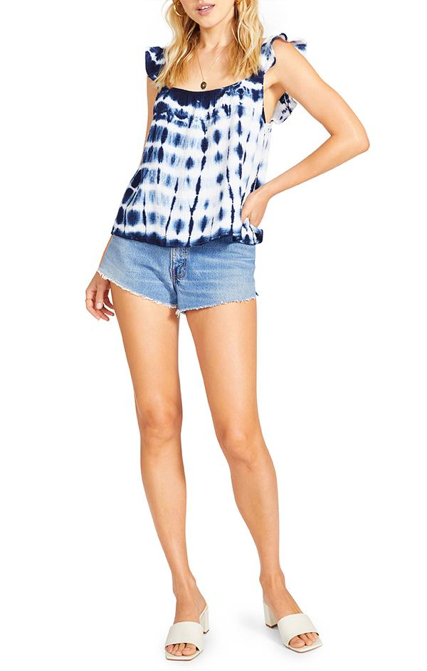 navy and white tie dye blouse